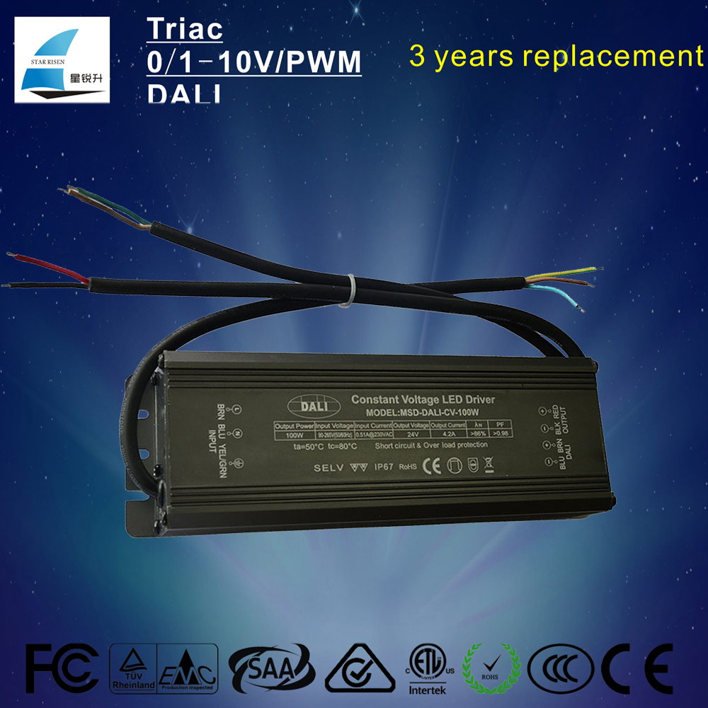 IP67 DALI Dimmable led driver Constant voltage 12V 24V 100W adapter supply 3 Years Warranty