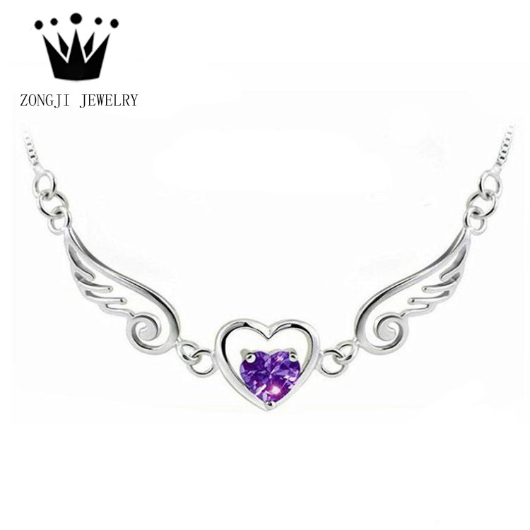 925 Sterling Silver Pendants Necklace Charms with Heart Angel Wings Latest Design 2016 Anniversary Gift