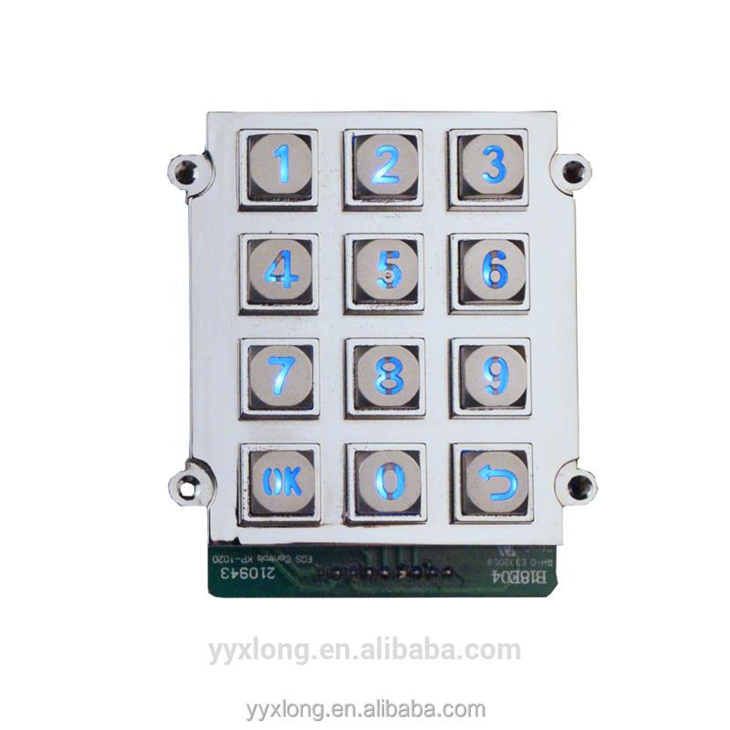 High Quality side mounted keypad 3x4 keys keypad piezo keypad