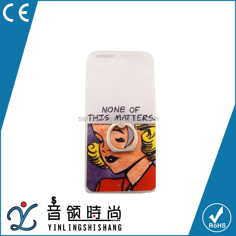 Cute Cartoon hard tpu cell phone cover with metal stand finger ring holder phone case for iphone6/6plus with sex girl design
