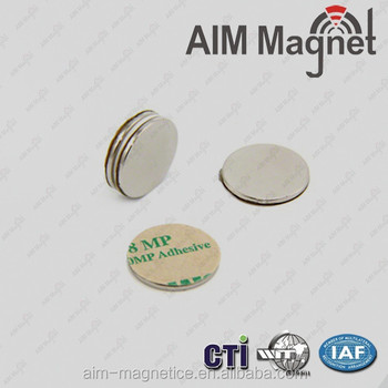 "1/16"" x 1/4 "" super strong neodymium permanent magnet with self adhesive"