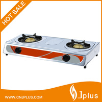 JP-GC206 China stainless steel 2 burners table top gas cooking cooker stove manufacture