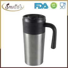 16oz Customized logo branded double layer travel mug plastic with stainless steel outer