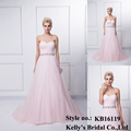 A hot sales pink tulle pleats on front A-line gown dress KB16119