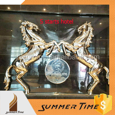 Wall decoration stainless steel horse sculpture for Bahrain 5 starts hotel