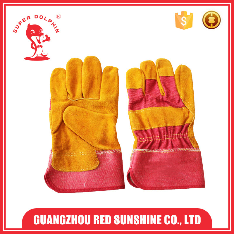 Cheap Stock leather work gloves cow split patched palm half cloth lining