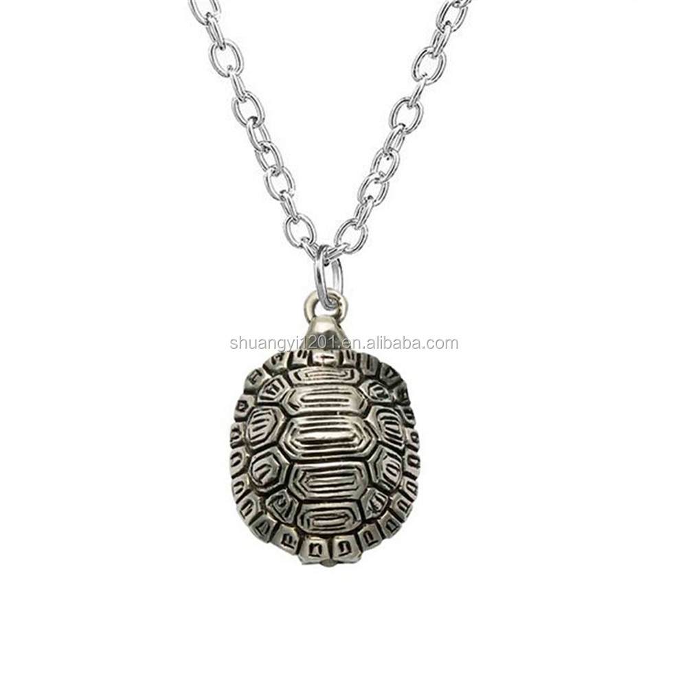Vintage Styles Antique Silver Plated Turtle Pendants Necklace Sea Life Jewelry