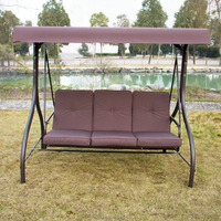 Patio Swing Hammock Chair with Cushion (Brown 3 Seat Bed swing)