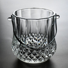 Diamond glass ice bucket with tong,wholesale ice buckets for beer.