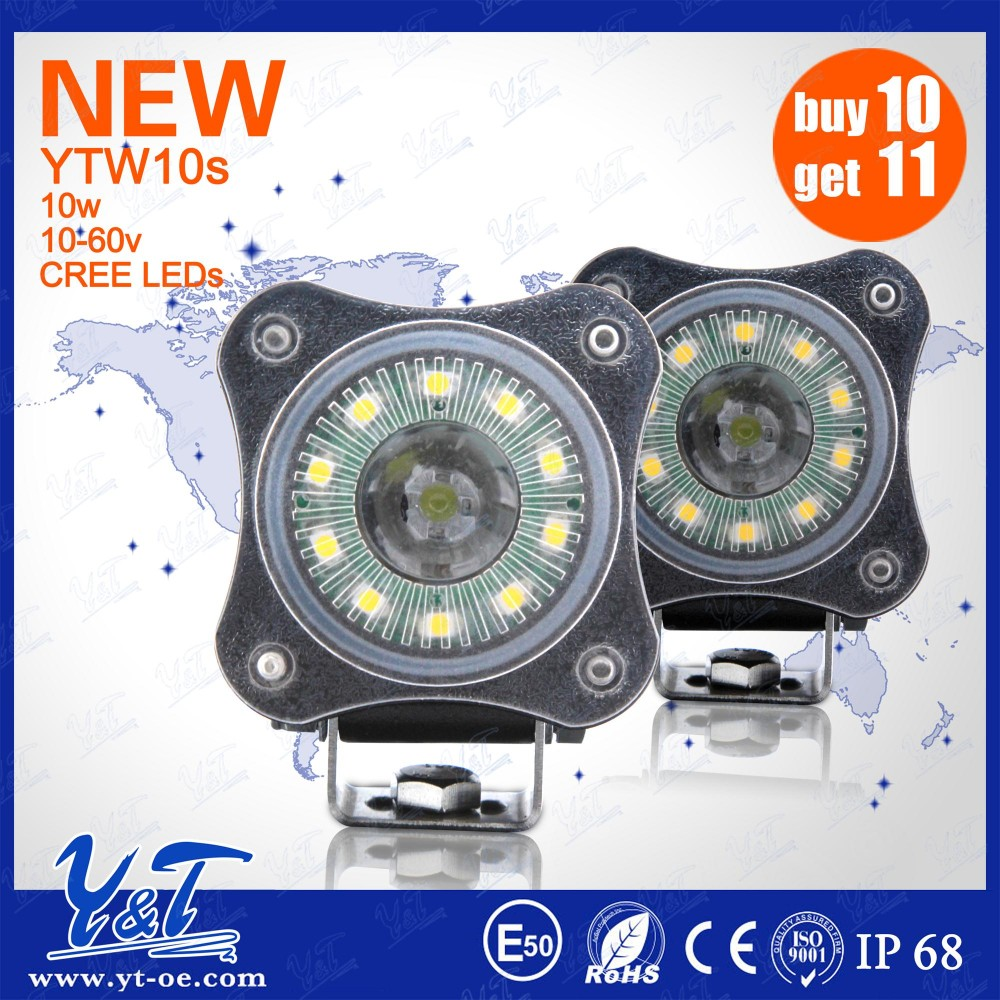 YTW10S Y&T Top brand supplier high power led motorcycle wheel light 2 inch 10W for utv