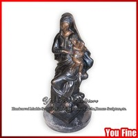 Bronze Mary And Baby Jesus Statue Figurine