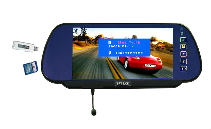 7 inch with bluetooth tft lcd car mirror monitor
