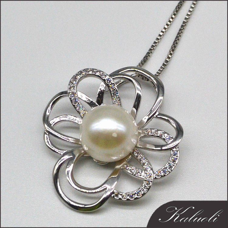 925 silver natural ivory freshwater pearl pendant mounting for lady