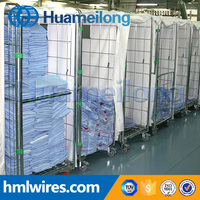 Insulated metal wire mesh galvanized foldable trolley roll container