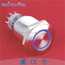 LED ring illuminated latching pushbutton, Anti-vandal metal pushbutton switch, IP67 waterproof metal push button