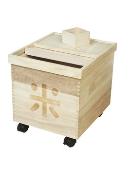 Japanese Favorite Paulownia Wooden Rice Barrel/Box with Wheels