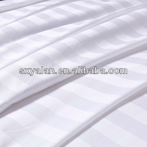 T/C 50/50 polyester cotton blend satin stripe dobby sheeting fabric for hotel use