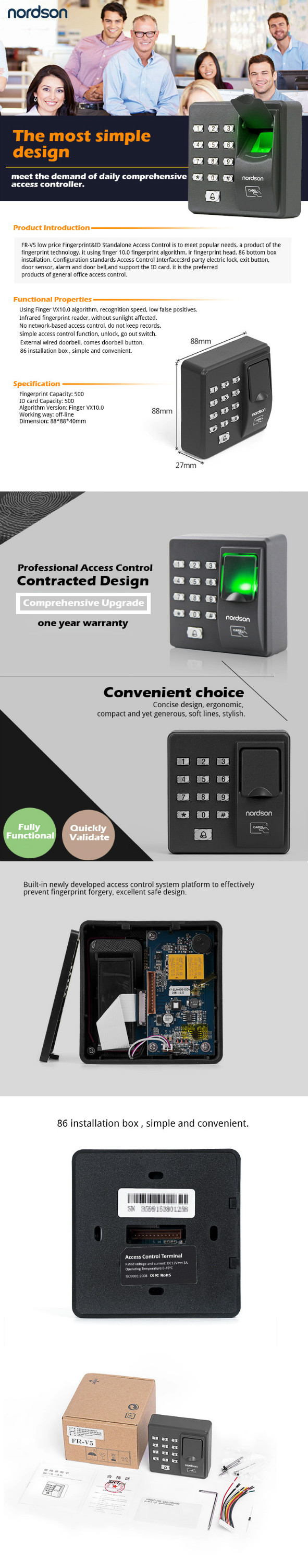 Low Price RFID Standard Biometric Fingerprint Access Controls for Single Door