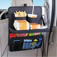 Car hanging organizer seat back pocket, kid car seat back organizer with table tray