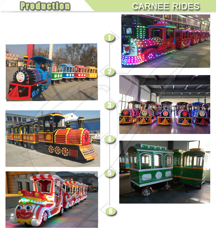 Popular Sale Mall Train Children Amusement Park Toys 16 Seats Trackless Train