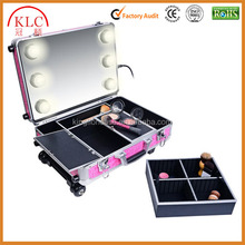 Custom-made Cosmetics Mini Studio Togo Makeup Case Rolling Cosmetics Case Beauty Case, Pink