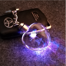 7 light LED key cover keychain for couples crystal keychains key rings holder