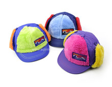 Hot selling custom winter plush baseball cap cute warm baby winter hat with ear flaps for children