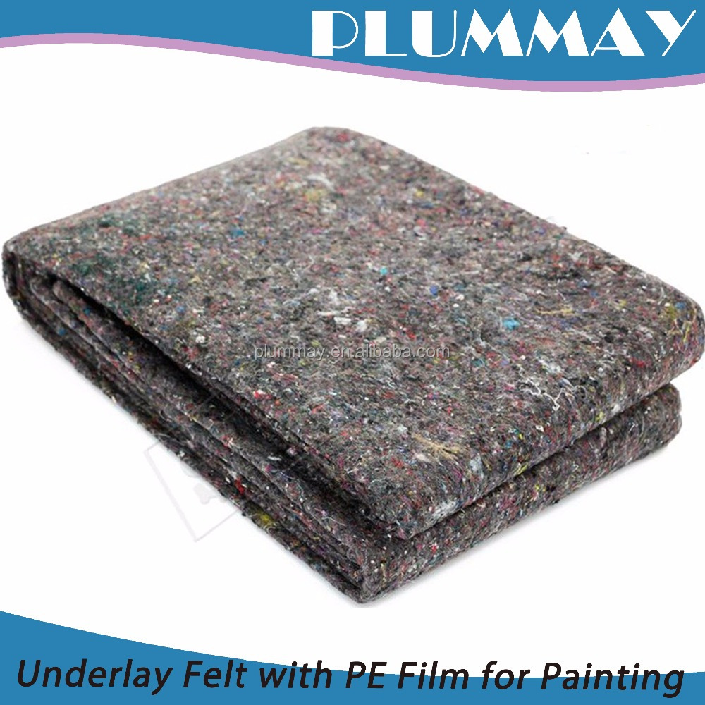 2017 High quality nonwoven 3mm recycled pet felt with PE Film