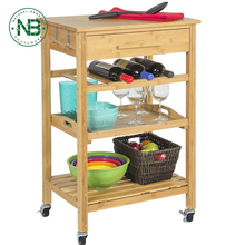 bamboo kitchen trolley Rolling Bamboo Kitchen Island Storage Bakers Cart Wine Rack W/ Drawer & Shelves
