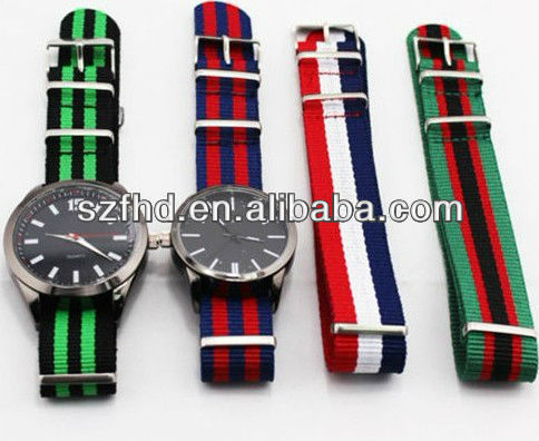 classic nylon straps watches&japan movement&3ATM waterproof for three time zone watches for men