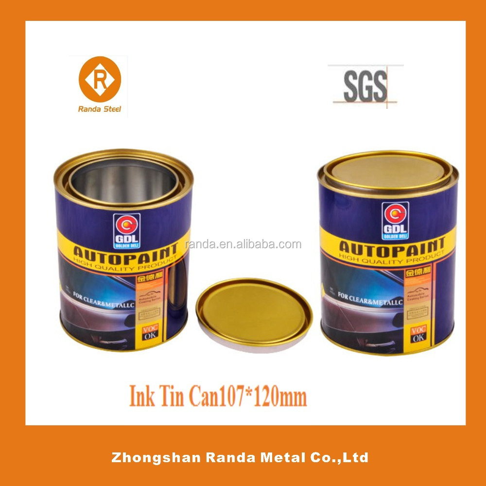 Coating tin 1 gallon paint with plastic ring ,2pc vacuum printing ink can
