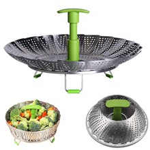 stainless steel fruit basket vegetable food stackable foldable steamer