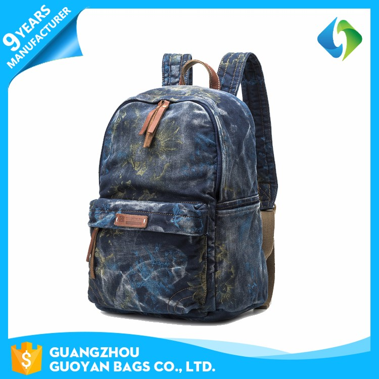 Retro styles outdoor canvas jeans korean bag lightweight backpack