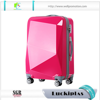 Hard shell abs luggage, diamond shape travel trolley luggage suitcase case