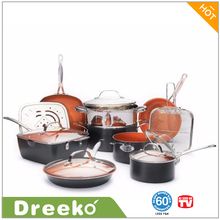 15 Piece Copper Kitchen Cookware Set With Non-Stick Coating