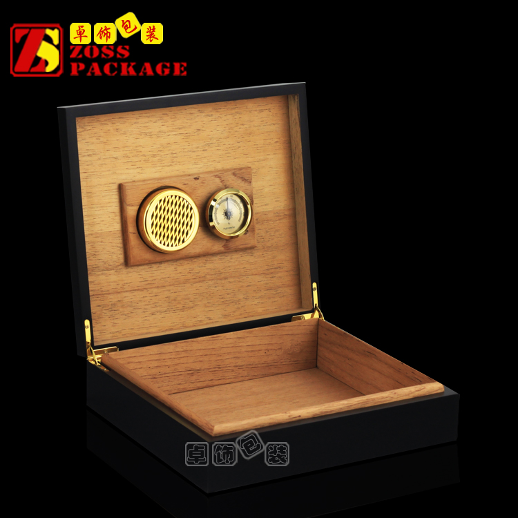 Online Retail Handmade Cedar Black Small Cigar Box with Humidifier