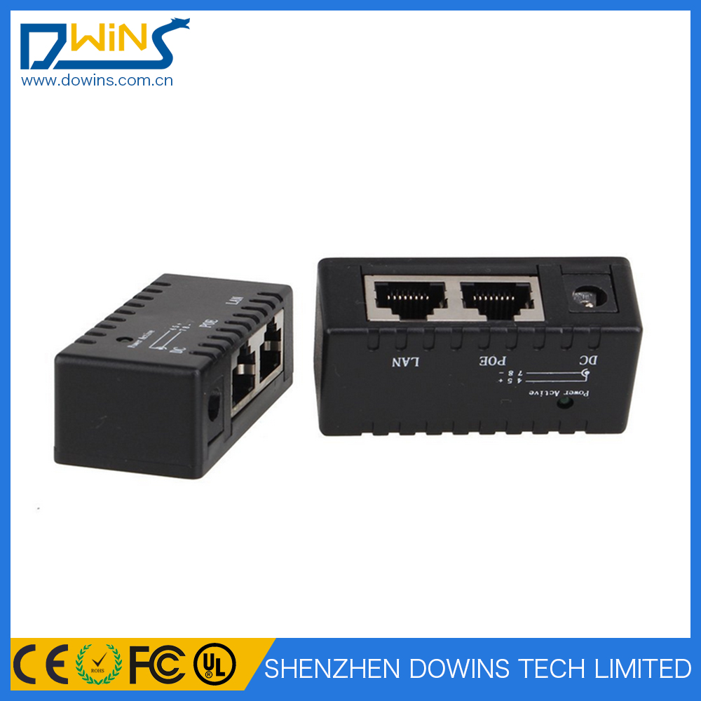 Wall mounted passive 24v dc power poe injector splitter