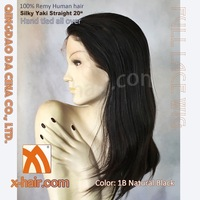 "Yaki 20"" color: 1B Natural black Hand tied full lace 100% Remy Human hair wigs"