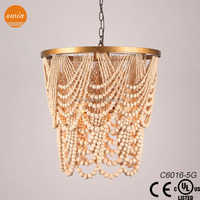 Antique beaded wooden Chandeliers lighting China Factory Directly Sales