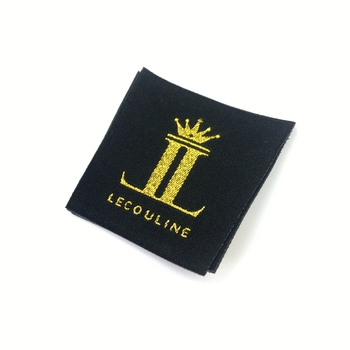 gold metallic straight cut garmetn black woven label