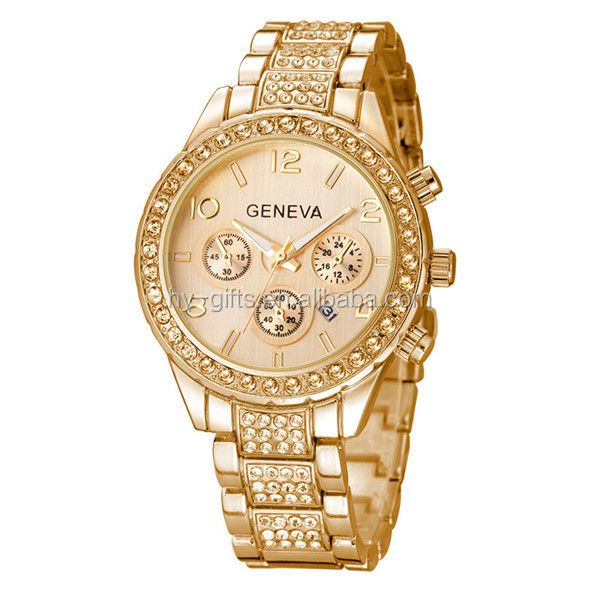fashion gold silver geneva watch luxury silver plated geneva watch