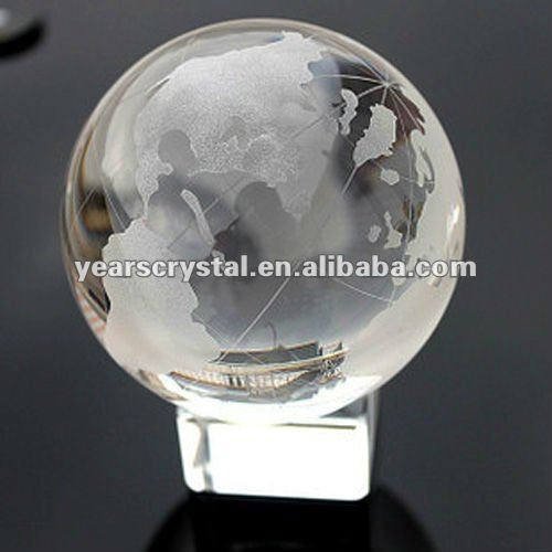 hot crystal globe with map metal base for desk decorations(R-0738