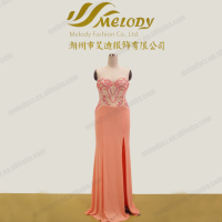 Guangdong low price pink beaded high slit long lace up evening designer gown
