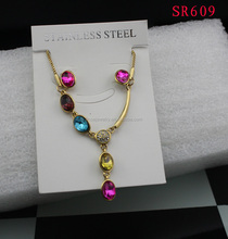 GOLD plated colorful rhinestone necklace steel set(pendant+chain+earring stud) wholesale stainless jewelry set