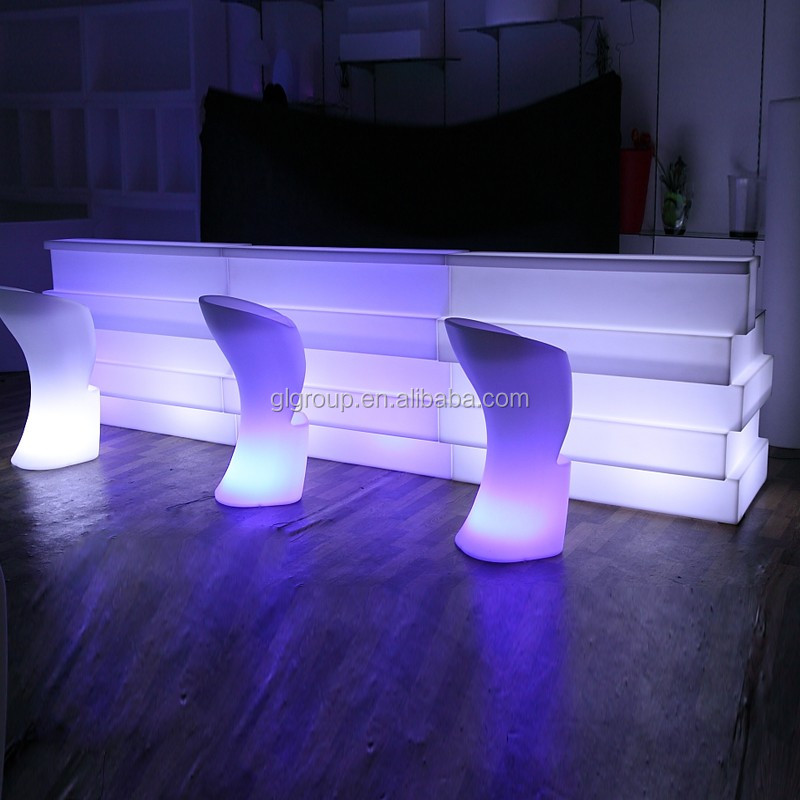 PE outdoor furniture Rechargeable bar counter colorful event bar furniture