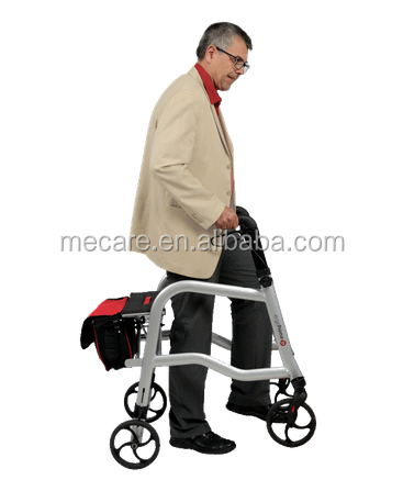 Rehabilitation Equipment Aluminium Folding Rollator Disability Rollator Walker