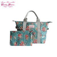 2015 New Canvas Foldable 2 in 1 Floral Pattern Reusable Shopping Bags