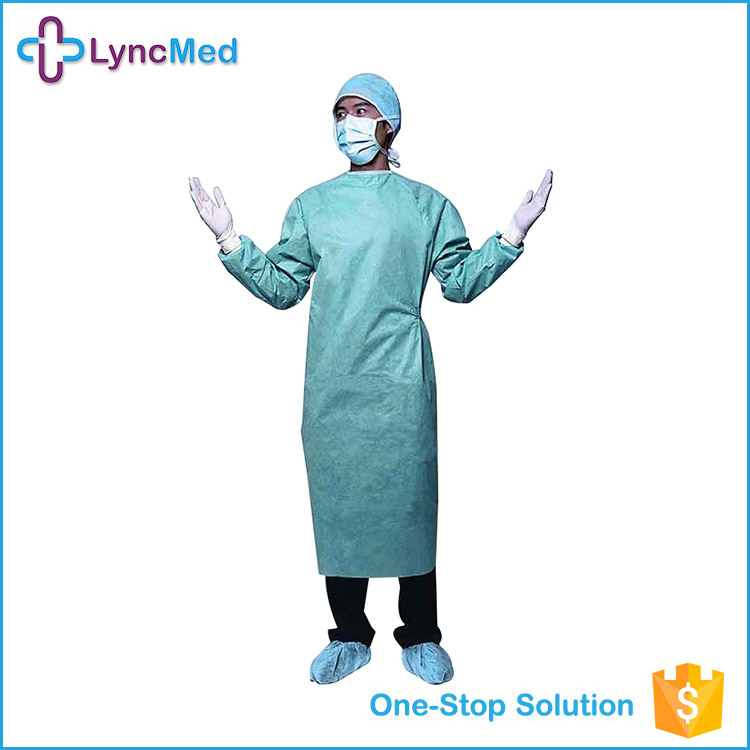 Custom OEM smocked spunlace disposable surgical gown