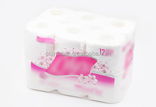 Comfortable raw material 2ply toilet paper roll patterned tissue paper