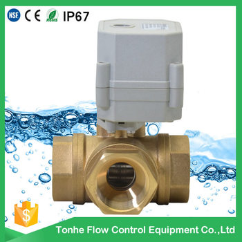 "110V to 220V 3 Way 1/2"" inch T bore motorized brass ball valve with Normally closed (T15-B3-C)"